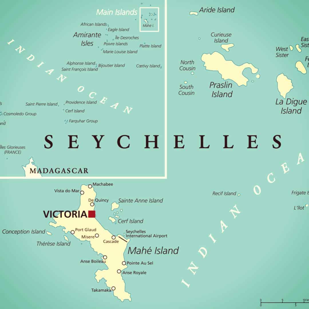 Ocean Map Seychelles in Center