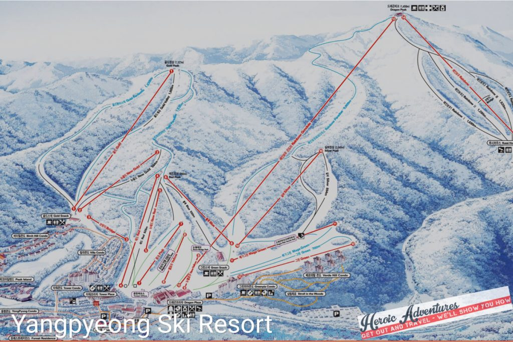 Map Yangpyeong ski resort South Korea