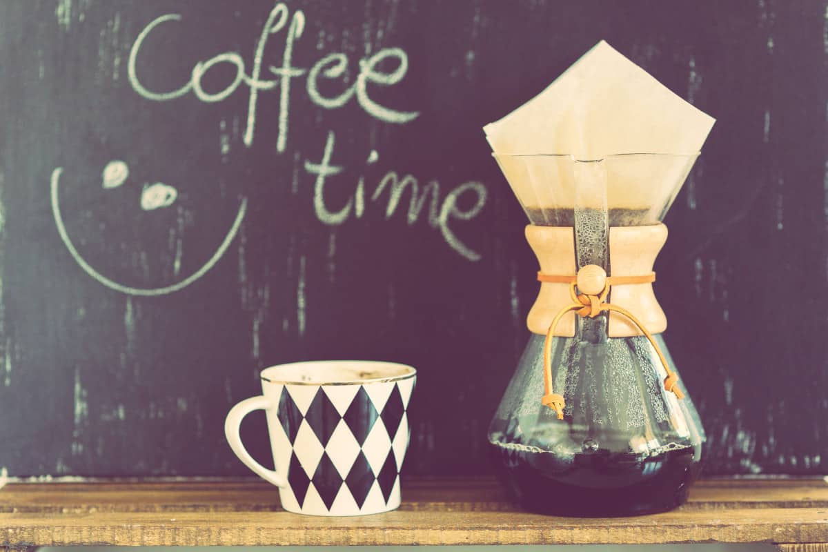 """Coffee Strainer and Cup, background reads """"Coffee Time"""""""