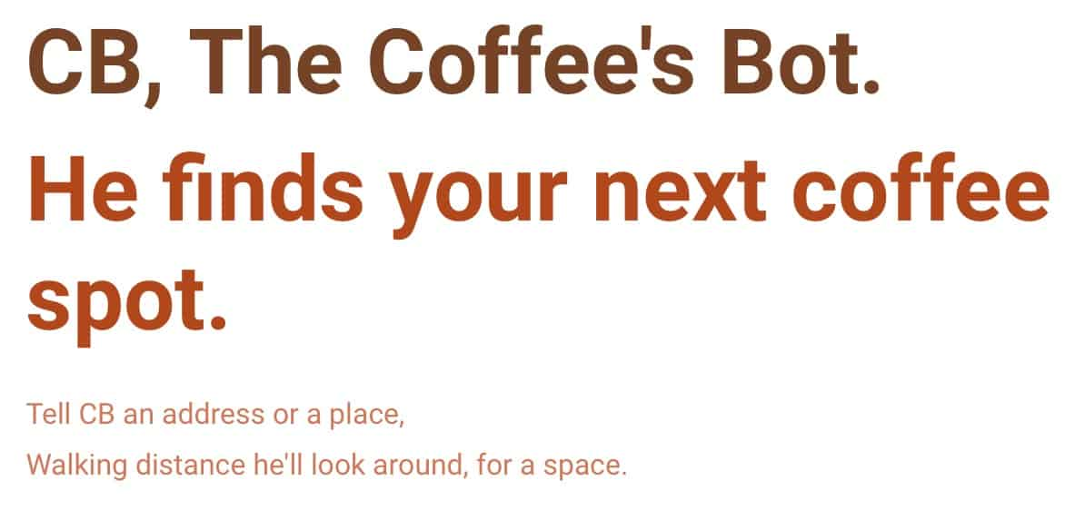Find Coffee Locations with Coffees Bot