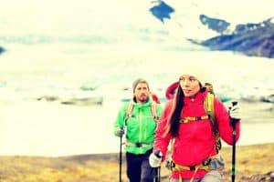 Couple Iceland Trekking Nordic Poles