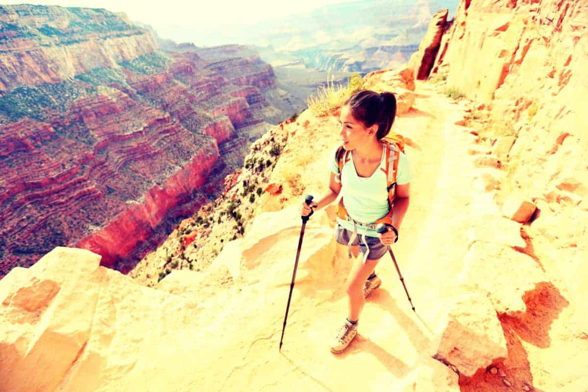 Girl Pair of Hiking Poles Grand Canyon