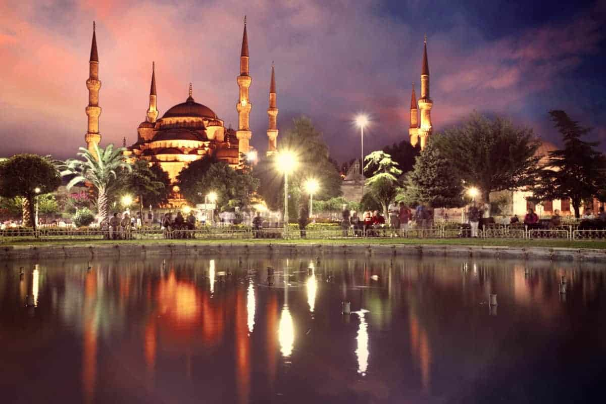 Blue Mosque Istanbul Turkey sunset