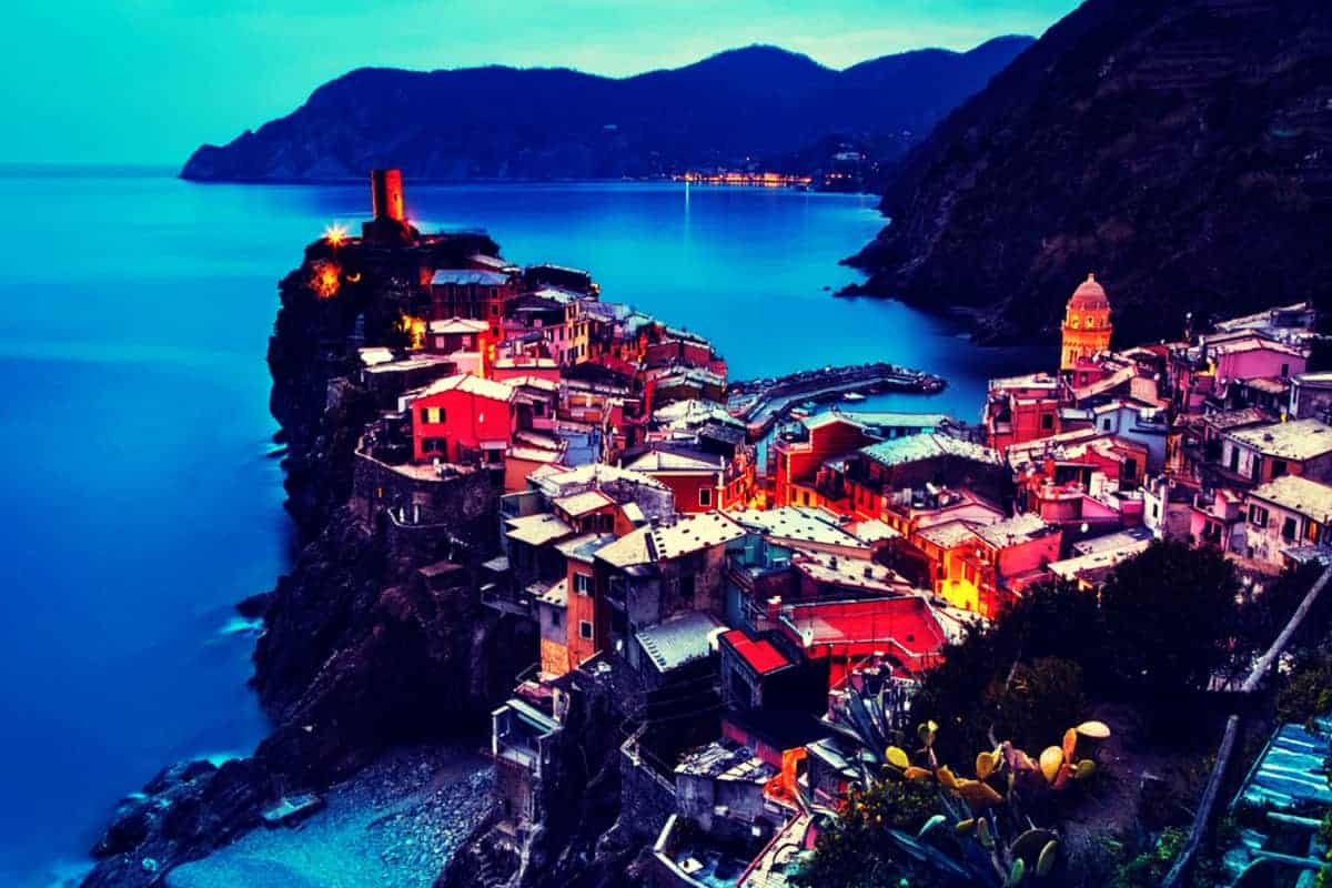 Cinque Terre Italy Houses on rock outcrop overlooking ocean