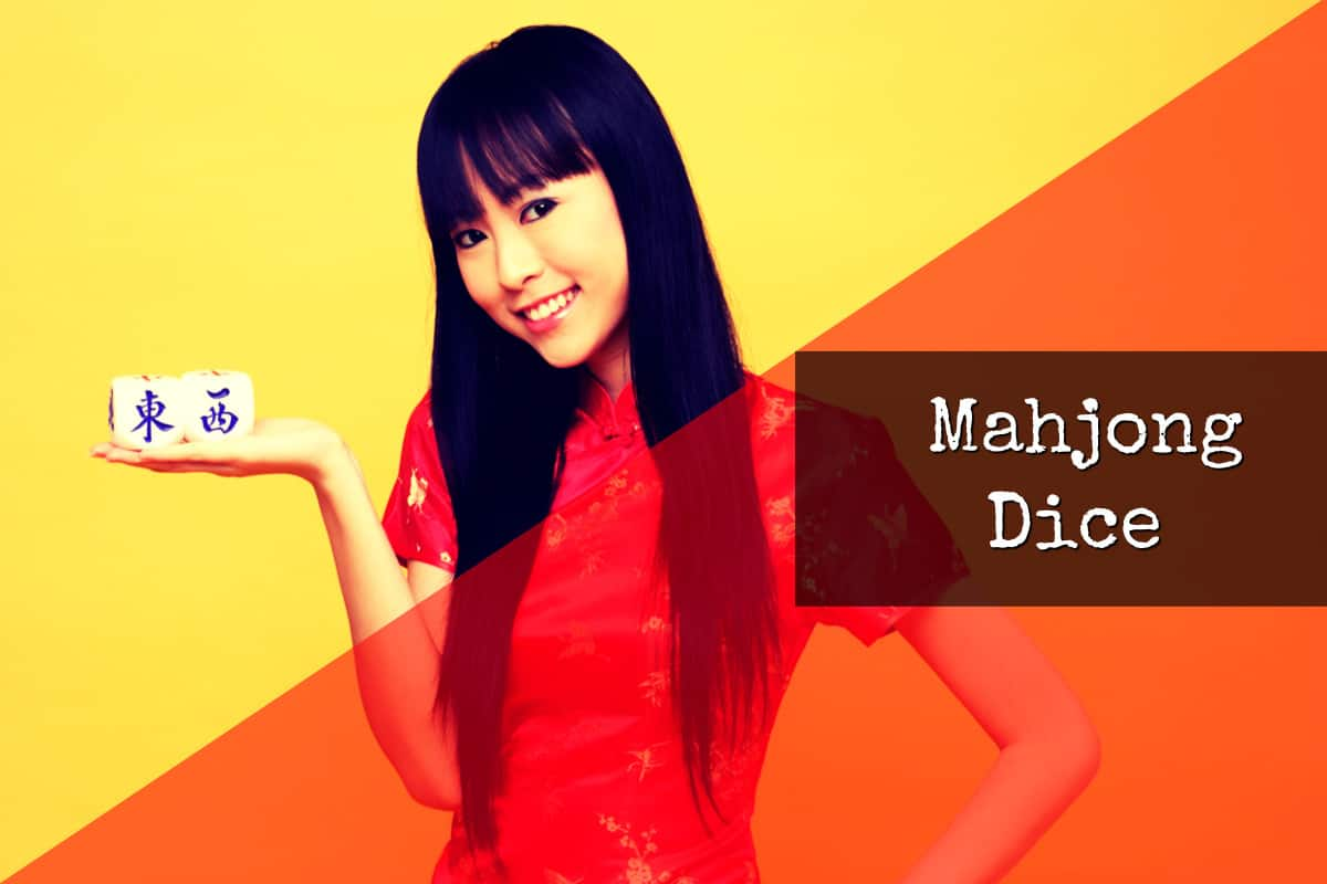 "Attractive Women Holding Chinese Dice, Text on Image says ""Mahjong Dice"""