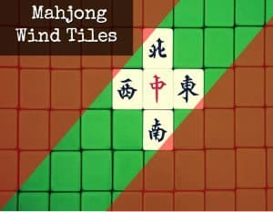 Mahjong Wind Tiles, Chinese Character meaning North, South, East, West, Middle (zhong)