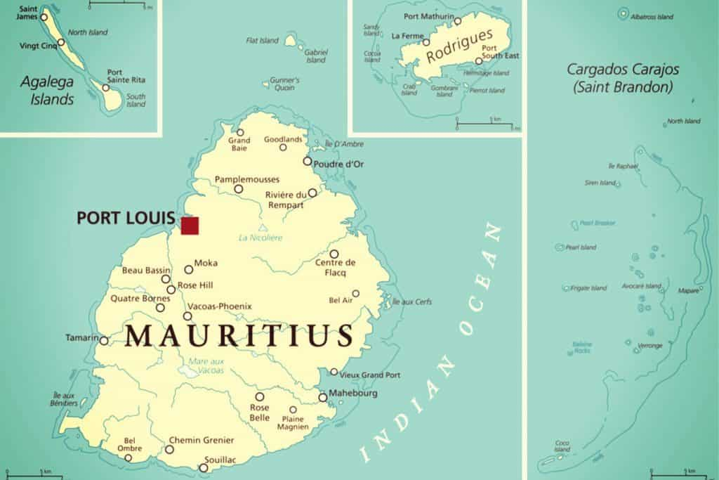Island of Mauritius, Indian Ocean, Map