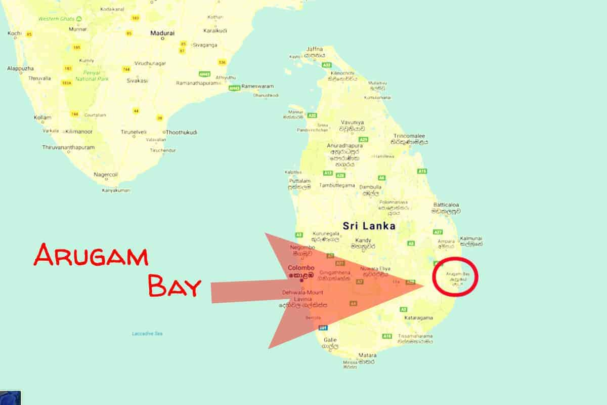 Map of Sri Lanka and S. India showing Arugam Bay