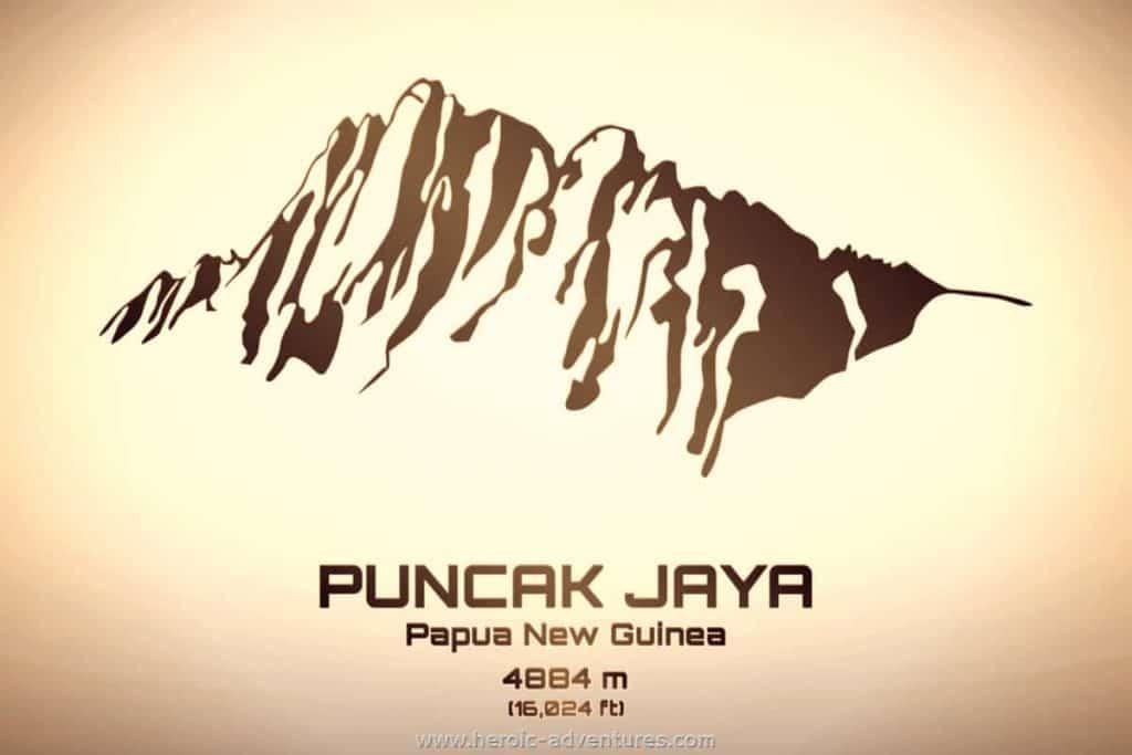 Puncak Jaya 4884 meters tall Papua New Guinea
