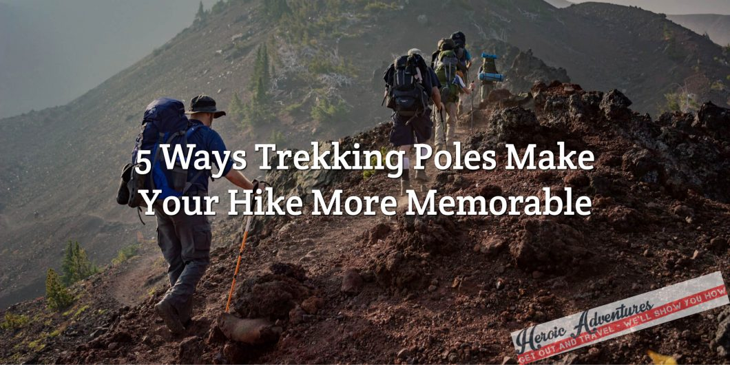 Group hiking with trekking poles